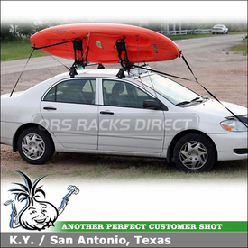 2005 Toyota Corolla Roof Rack Kayak Rack with Yakima Q Towers, Q99 & Q31 Clips, Hull Raiser and Wind Fairing