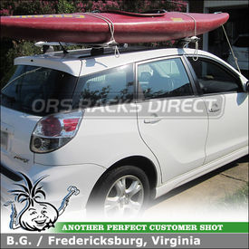2005 Toyota Matrix Roof Tracks & Car Rack Cross Bars using Thule TP54 Top Tracks and 460R Rapid Podium (w/ 3101 Fit Kit & ARB53 AeroBlade Load Bars)