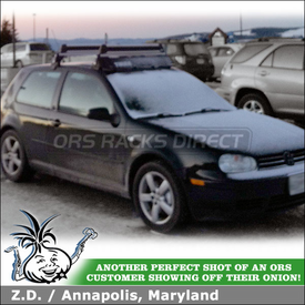 2005 Volkswagen GTI Snowboard Rack & Fairing Mounted to Votex Brand Factory Crossbars using Thule 92725 Flat Top, Flush Mount Adapter Kit & 872XT Wind Fairing
