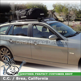"2006 BMW 325 xi Roof Rack Cargo-Luggage Bag System using Yakima RailGrab Towers, 38"" Wind Fairing & GetOut Roof Bag"