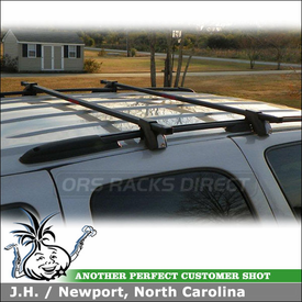 2006 Chevy Tahoe Z71 Roof Rack Cross Bars for Factory Side Rails using MPG202 Malone Universal Cross Rails Roof Rack