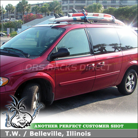 2006 Dodge Caravan Factory Roof Rack Mount Surfboard Rack using Thule 554XT Hang-Two Surfboards Carrier