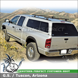"""2006 Dodge Ram A.R.E. Camper Shell Roof Rack with Yakima Control Towers, LP1 Landing Pads & 60"""" Tracks"""