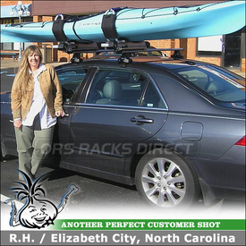 2006 Honda Accord Roof Rack Kayak Side-Loading Lift Assist using Thule 480 Traverse, 1304 Fit Kit & Thule 897XT Hullavator
