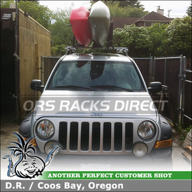 2006 Jeep Liberty Renegade Side Rails Mounted Roof Rack Crossbars + Kayak Mounts using Inno IN-FR Stays, B117 Cross Bars & INA450 Kayak Rack