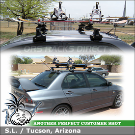 2006 Mitsubishi Lancer Evolution IX MR Ski-Snowboard Roof Rack with Thule 480 Traverse, 1477 Fit Kit & Yakima ButtonDown