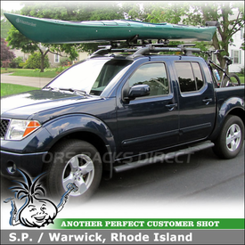 2006 Nissan Frontier Kayak Roof Rack and Truck Bed Bike Rack using Yakima RailGrab Kit, Mako Saddles-HullyRoller Kayak Rack Combo & Locking BedHead