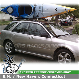2006 Subaru Impreza STI OEM Roof Rack Cross Bars Mounting Kayak Carriers using Inno INA450 Upright Kayak Rack