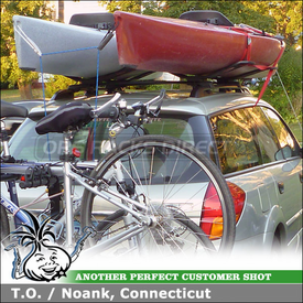 2006 Subaru Outback Factory Rack Mount Kayak Racks using Malone SeaWing V-Saddle Kayak Carriers