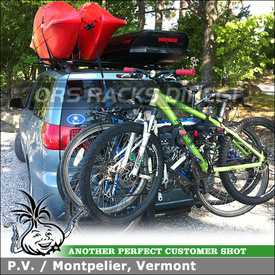 2006 Toyota Sienna Side Rails Cartop Rack with Cargo Container, Kayak Carrier and Five Bike Rack for Receiver Hitch