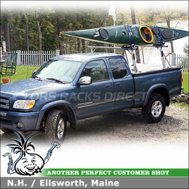 2006 Toyota Tundra Kayak Truck Rack using TracRac G2 Sliding Track Rack, Thule 835PRO Hull-a-Port, Xadapt3 Kit and TracTonneau Cover