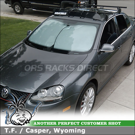 "2006 VW Jetta Roof Rack & Wind Fairing using Yakima Q Towers, Q5 Clips & 44"" Rack Faring"