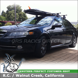 2007 Acura TL Roof Rack for Carrying Surfboards using Thule 480R Rapid Traverse & 1544 Fit Kit