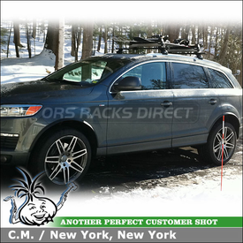 2007 Audi Q7 Roof Rack Snowboard-Ski Carrier System using Thule 460 Podium w/ 4002 Fit Kit and Thule 91726 Universal Pull Top Ski-Snowboard Rack