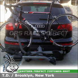 2007 Audi Q7 Two Bike Platform Rack for Receiver Hitch Using Yakima Hold Up