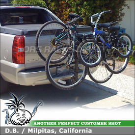 2007 Chevy Avalanche Hitch Bike Rack using Thule 914XT RoadWay 4 Bike Hitch Rack