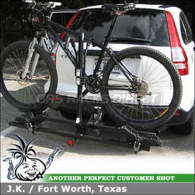2007 Honda CRV Hitch Bike Rack using Thule 990XT DoubleTrack 2-Bike Platform Hitch Rack