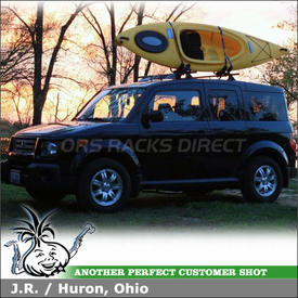 "2007 Honda Element Kayak Roof Rack using Yakima Control Towers, LP9 Landing Pads, 44"" Fairing & Thule 835XTR Kayak Rack"