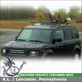 "2007 Honda Element Roof Rack J-Kayak Rack System using Yakima Contol Towers, LP9 Landing Pads, 44"" Fairing & SportRack ABR511 J-Stacker"