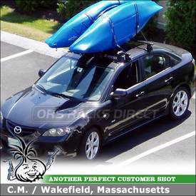 "2007 Mazda3 Roof Rack Kayak Stacker using Inno IN-SU Stays & K303 Fit Hooks, INA262 Fairing & Thule 830 ""The Stacker"""