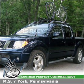 2007 Nissan Frontier Crew Cab Roof Bike Rack using Yakima King Cobra & Universal Mighty Mounts
