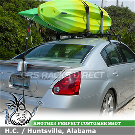 2007 Nissan Maxima Roof Rack Kayak Racks using Yakima Q Towers, Q119 Clips & BigStack Kayak Stacker