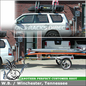 2007 Subaru Forester SUP-Surfboard Trailer with Luggage Box and Kayak Carriers on Factory Car Rack