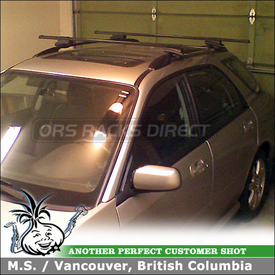 2007 Subaru Impreza Wagon Roof Rack for Factory Side Rails using Thule 45058 CrossRoad