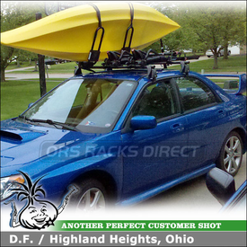 2007 Subaru Impreza WRX Roof Rack Kayak Bike Racks using Yakima Q Towers, Q78 Clips, King Cobra & HullRaiser