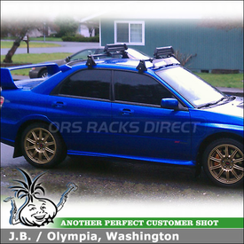 "2007 Subaru Impreza WRX STI Snowboard Roof Rack using Yakima Q Towers w/ Q78 Clips, 38"" Wind Fairing & ButtonDown Aero Snowboard Rack"