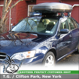 2007 Subaru Legacy Sedan Roof Rack Cargo Box using Thule 400XT Aero, 2155 Fit Kit, 871XT & 602 Ascent 1100 Ski Box