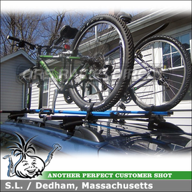 2007 Subaru Outback Roof Bike Rack for Raised Rails using RockyMounts PitchFork and Thule 45050 CrossRoads