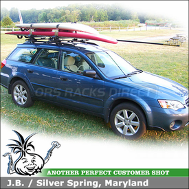 2007 Subaru Outback Wagon Roof Rack for SailBoards with Inno IN-FR System, INA744 BoardLocker Windsurfer Rack & IN731 Mast Holder