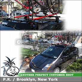 "2007 Toyota Prius Bike Roof Rack with Yakima Q Towers, Q5 Clips, Q124 Clips, 44"" Fairing & RockyMounts PitchFork"