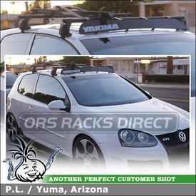"2007 VW GTI Roof Rack Bike Mount + Wind Fairing using Yakima Q Towers (w/ Q 102 Clips & 58"" Bars), 44"" Fairing & Raptor Bike Rack"