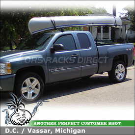 2008 Chevy Silverado Canoe Truck Rack using Yakima Q Towers Half Pack, Q118 Clips, Outdoorsman 300 & Gunwale Brackets