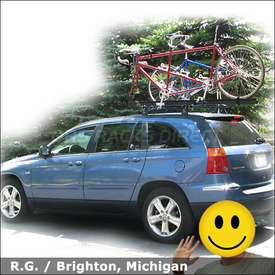 2008 Chrysler Pacifica Roof Rack for Tandem Bike with Thule 430 Tracker II System & 558p Tandem Bike Rack