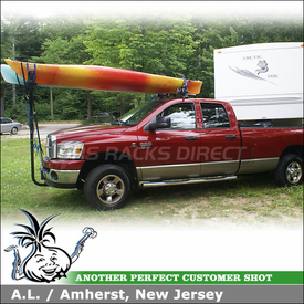 2008 Dodge Ram 3500 Truck Kayak Racks using Thule 480 Traverse Half Pack & 1528 Fit Kit, DryDock, Mako Aero Saddles, HullyRoller & Thule 878XT