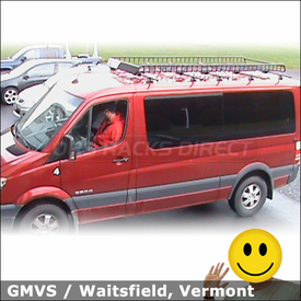 2008 Dodge Sprinter Van Roof Rack for Skis with Yakima Control Towers & MegaWarrior Basket