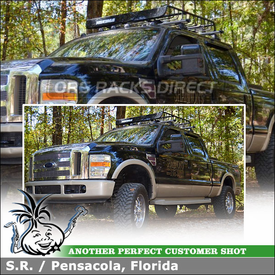 2008 Ford F-250 Cab Roof Rack Cargo Basket using Whispbar T18 HD Bar (w/ K469 Kitting Kit) and Yakima MegaWarrior
