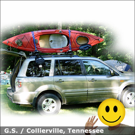 2008 Honda Pilot Kayak Roof Rack with Thule 450R Rapid CrossRoad System & Thule 835PRO Hull-a-Port
