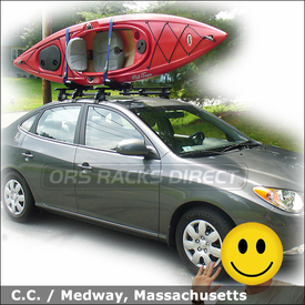 2008 Hyundai Elantra Roof Rack for Kayak with Thule 400XT Aero System and Thule 835PRO Hull-a-Port Kayak Rack