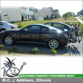 "2008 Hyundai Tiburon Hitch Bike Rack using Yakima HoldUp for 1-1/4"" Trailer Hitch"