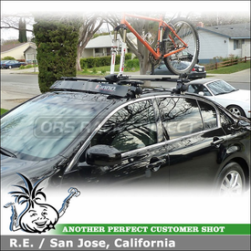 2008 Infiniti G35 Bike Roof Rack Wind Fairing System using Inno INSU Stays, K220 Fit Hooks, INA262 Fairing & INA383 Fork Lock II