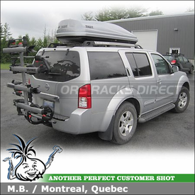 2008 Nissan Pathfinder Hitch Bike Rack Roof Box using Yakima Hold Up & +2 Bike Add-On and Thule 687XT Atlantis 1800
