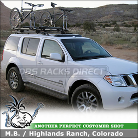 2008 Nissan Pathfinder Roof Rack with Ski-Snowboard & Bike Racks using Thule 45058 CrossRoad, 518 Echelon & Yakima Fat Cat 6
