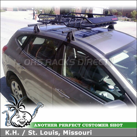 2008 Nissan Rogue Roof Rack Luggage Basket using Yakima Q Towers & Q34 Clips and Malone Katahdin Gear Basket