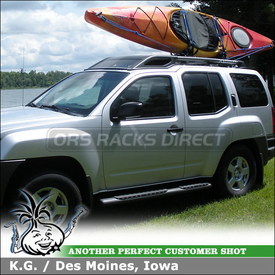 2008 Nissan XTerra Kayak Rack J-Cradles for Factory Rack Cross Bars Using Thule 835XTR Hull-a-Port & Xadapt3 Kit