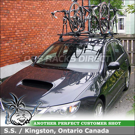 "2008 Subaru Impreza WRX Roof Bike Racks System using Yakima Control Towers (w/ Landing Pads 11 & 48"" Crossbars), ForkLift and CopperHead"