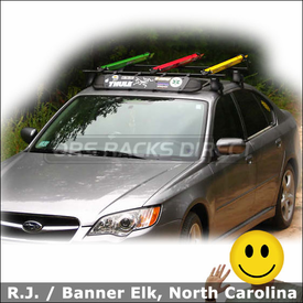2008 Subaru Legacy Roof Rack for Bikes with Thule 400XT Aero System, Wind Fairing & RockyMounts Lariat SL Bike Racks